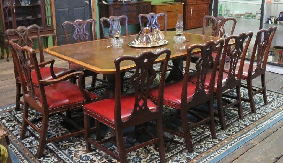 Morrell (of John Morrell Meat Packing Plant) Estate custom dining table with 12 red leather chairs (c. 1920)