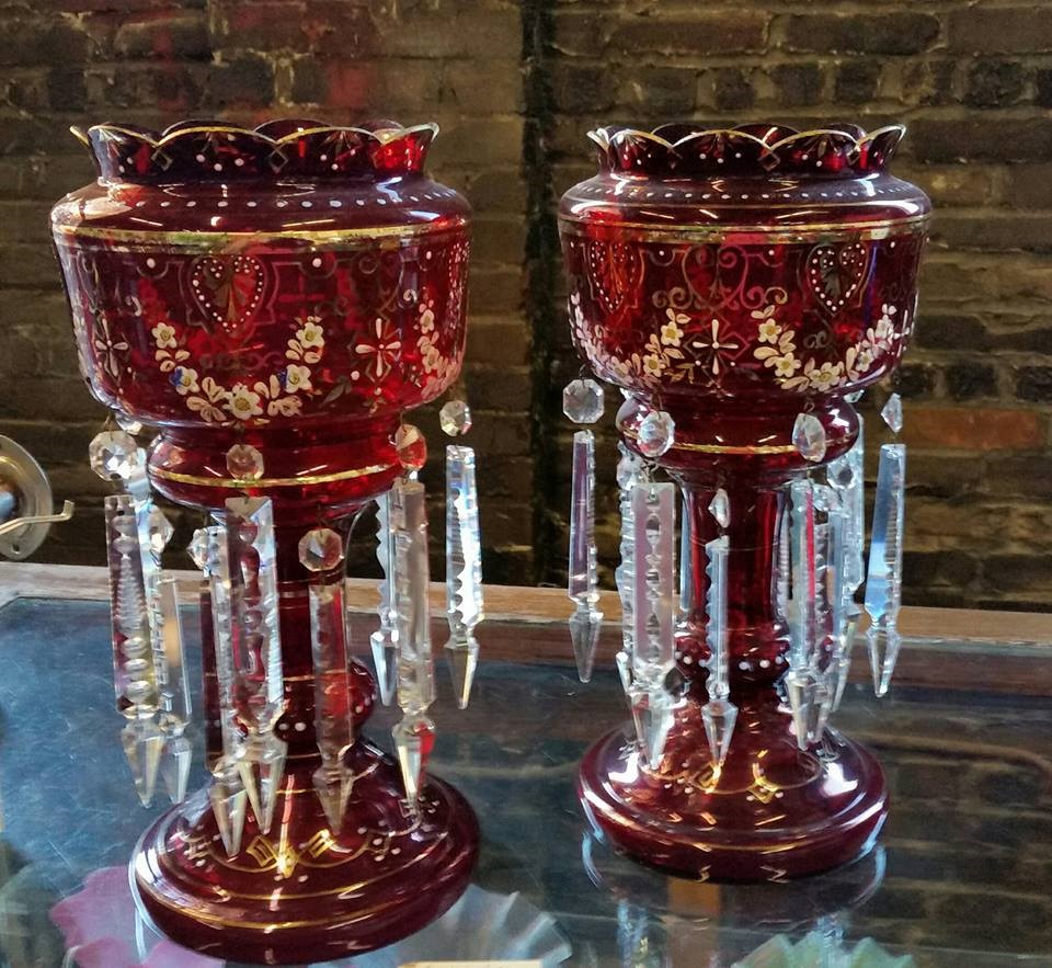 Victorian ruby red glass lustre candle holders
