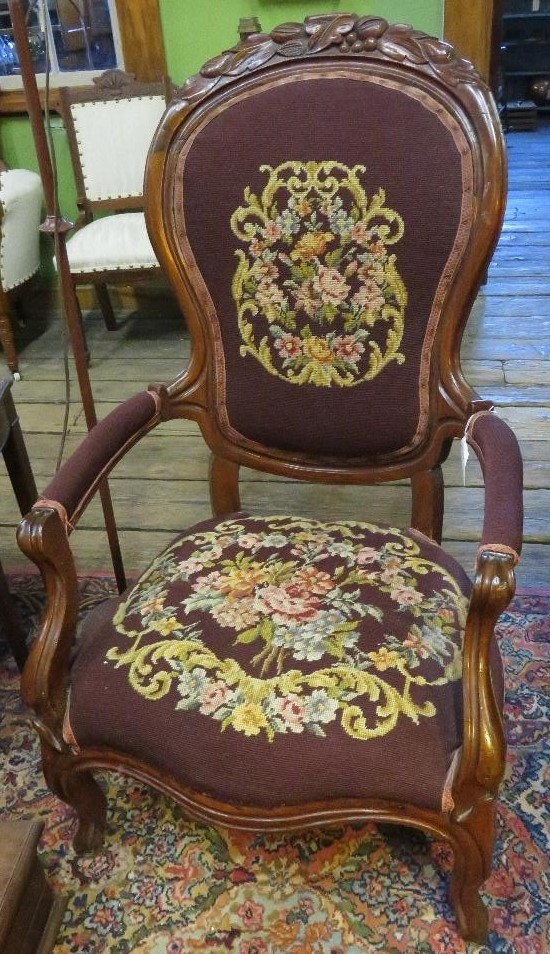 Victorian walnut parlor chair with needlepoint upholstery