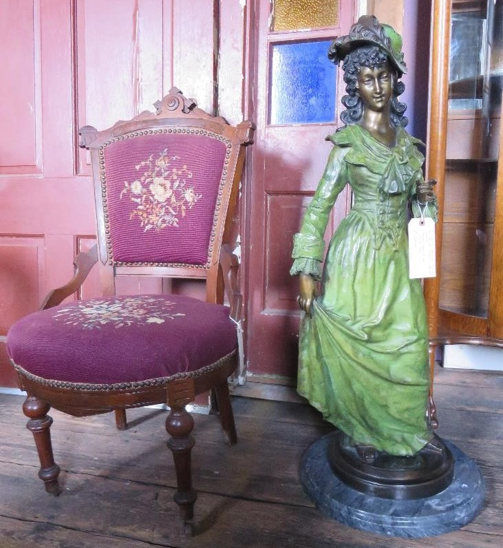 Signed Rancoulet Victorian Bronze Statue of a Young Lady in Period Clothes